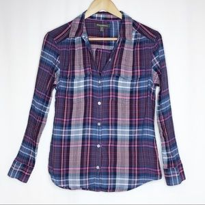 Tommy Bahama Plaid Cotton Button Top Women's Small